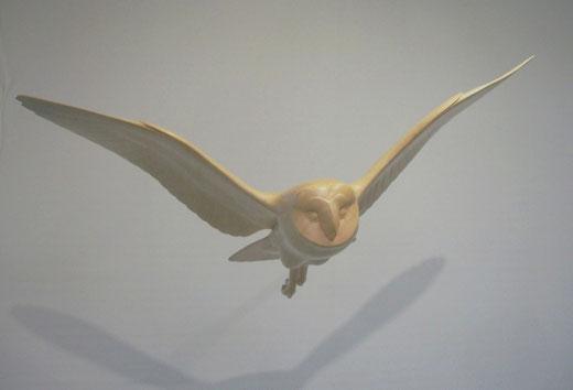 Effraie des clochers (Tyto alba) - Sculpture en bois d'Erable - Dominique Rautureau