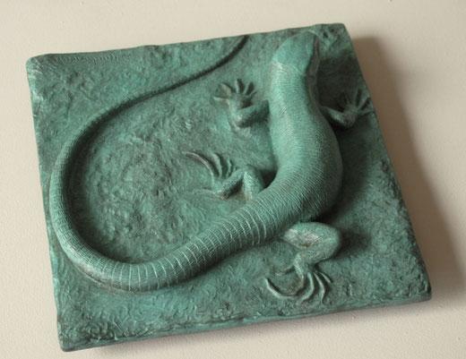 Lézard vert (Lacerta bilineata) - taille x 1 - bronze - D.Rautureau - RNR du Pont Barré