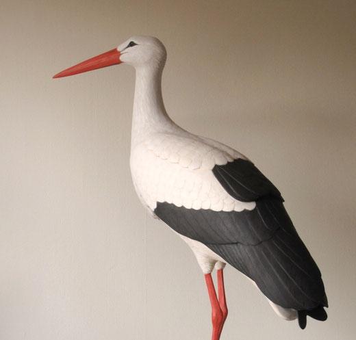 Cigogne blanche (Ciconia ciconia - White stork) - taille x 1- sculpture peinte bois -D. Rautureau -RTE Lyon-Jonage