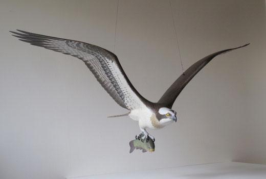 Balbuzard pêcheur (Pandion haliaetus - Osprey - Fischadler - Aguila Pescadora) - x 1 - sculpture peinte - D.Rautureau - RTE Lyon-Jonage