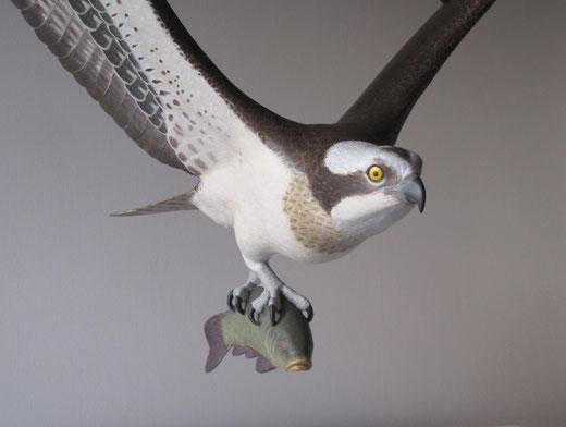 Balbuzard pêcheur (Pandion haliaetus - Osprey - Fischadler - Aguila Pescadora) - x 1 - sculpture peinte bois  - D.Rautureau - RTE Lyon-Jonage
