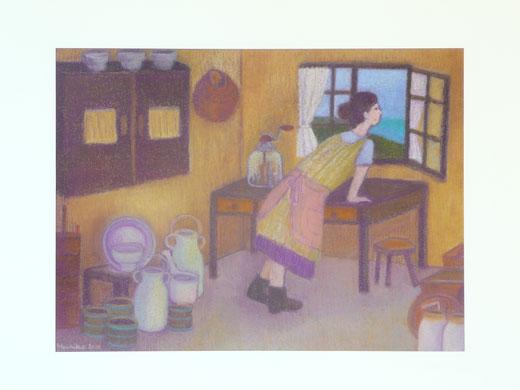 Mammy in the dairy produce room 42.5cmx52.5cm