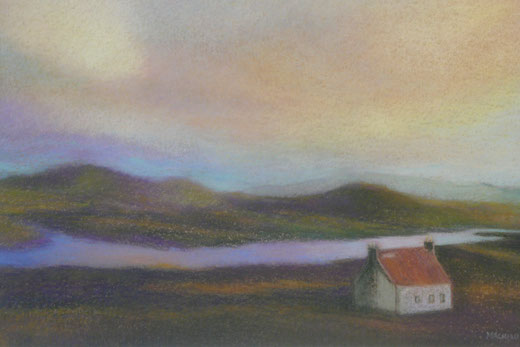 A  house in the sunset ( Isle of Harris, sold) 42.5cmx52.5cm