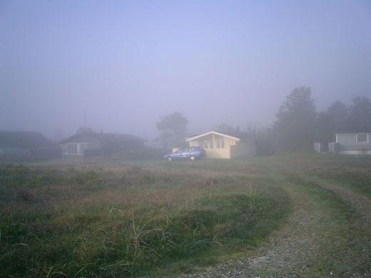 Unser Haus im Morgennebel