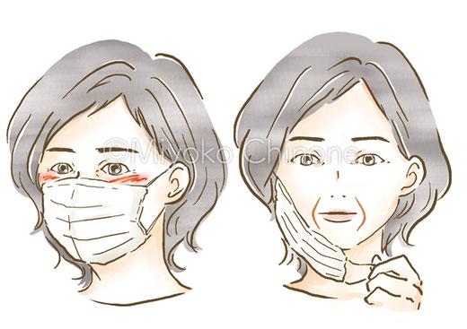 マスクをつけたシニア女性のイラスト