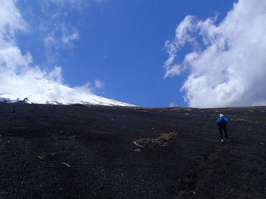 須走口登山道5合目に向かう。踏み跡は薄い。晴れている日はまだいいが。。。ガスっていたり夜間なら方向維持が難しくなる。コンパスのベアリングで直進技術が使えるといい。
