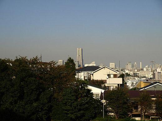 弘明寺公園からランドマークタワーを望む。展望台にのぼればさらに壮大な眺めが