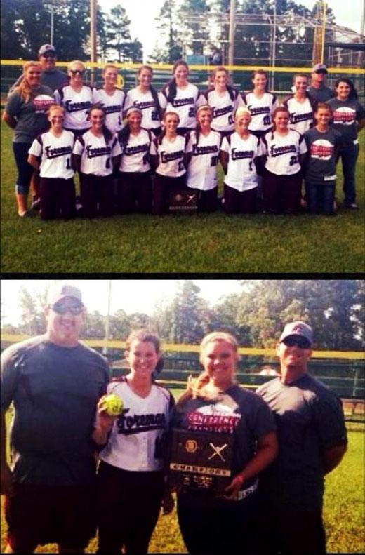 Nella foto in alto la squadra Lady Gators e qui sotto l'immagine ricordo di Nadia con i coach e la pallina del fuoricampo