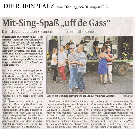 Bericht der RHEINPFALZ v. 20.08.2013