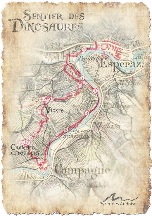 jeu de piste - plan Sentier des Dinosaures - Espéraza