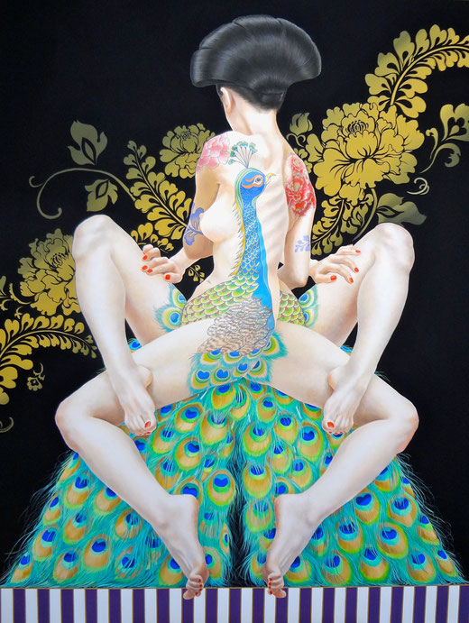 "観賞される身体:孔雀牡丹""The Ornamental body :The Peacock & The Peony""2012,145.5×112.0cm,Acrylic colors on canvas."