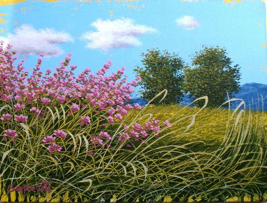 marco saporiti - fioritura lilla -  acrilico tela - 40 X 30