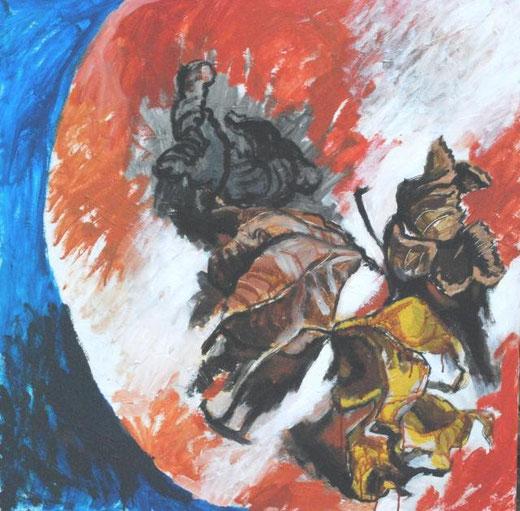 Debernardi Silvano – Quattro foglie - acrilico tela - 100 x 100