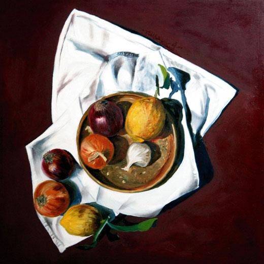 Paul De Haan - Still life on red - Olio su tela - 50 x 50