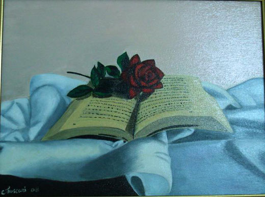 luscari carmela  libro con rosa olio su tela 40 x 30