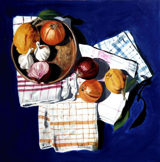 De Haan Paul - Still life in blue - olio tela - 50 x 50