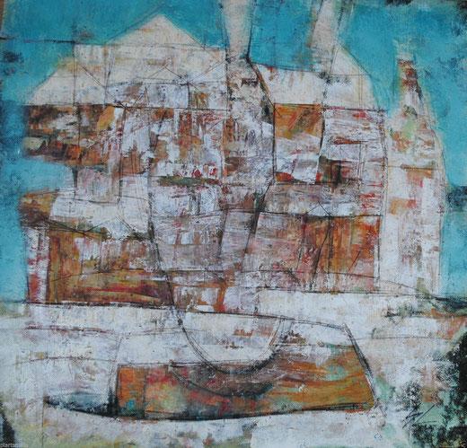 Mario Lecinsky - Egiptian Square - acrilico su tela - 56 x 55