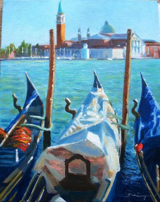 Winn Dai – Gondole a San Giorgio Maggiore, Venezia - olio tela - 18 x 24