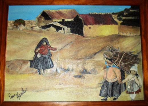 Pino Rasile - Paesi poveri - olio su tavola di legno - 40 x 30
