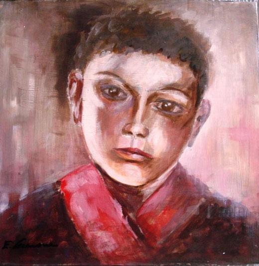 Cremone Enzo  - Malinconica gioventù - acrilico tela  - 40 x 40