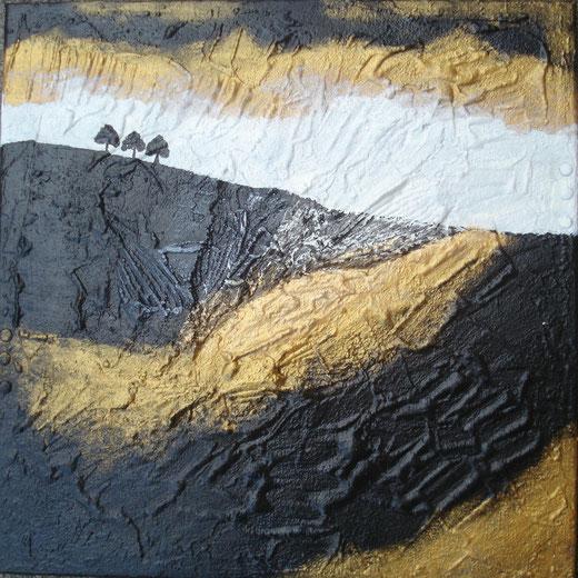 Aliz Polgar - Three trees - tecnica mista tela - 50 x 50