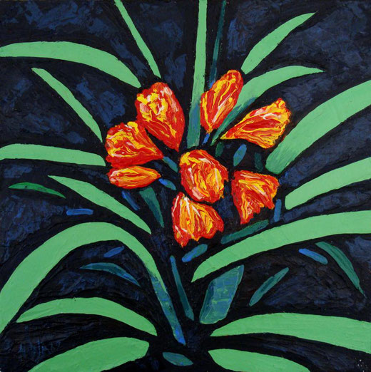 Natalia Kessler - Lilies - acrilico su tela - 40 x 40