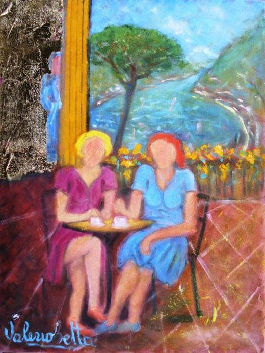 Betta Valerio - Amiche in relax al lago - olio tela - 30 X 40