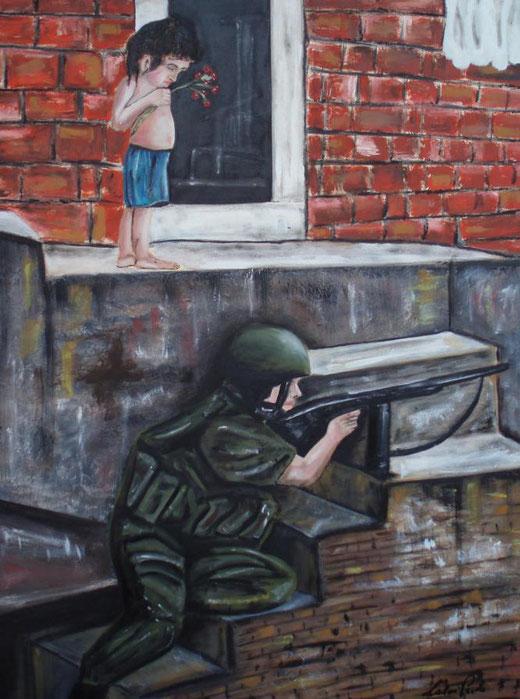 Paolo Caloi - il mio diritto di vivere - olio su tavola di legno - 60 x 80