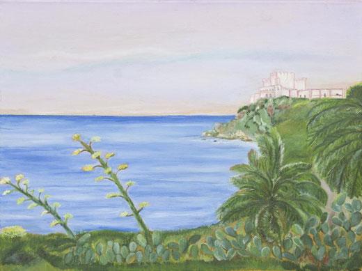 Rosanna Arena - Il castello di Licata - olio su tela - 40 x 30