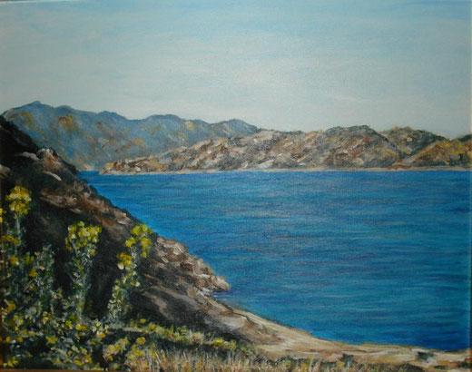 Marinella Careddu - paesaggio di mare - acrilico su tela - 30 x 24