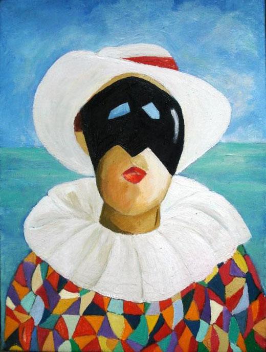 Coral Roberta - Arlecchino al mare - olio tela - 30 x 40
