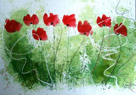 Berger Barbara  - Poppies - acquerello cartone - 30 X 20