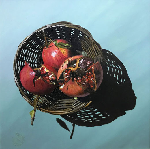 Agostini Stefano - Basket in red - olio su tela - 50 x 50