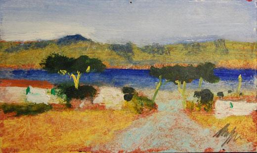 Salvatore Magazzini - Paesaggio marino -  Olio su cartone - 112 x 73