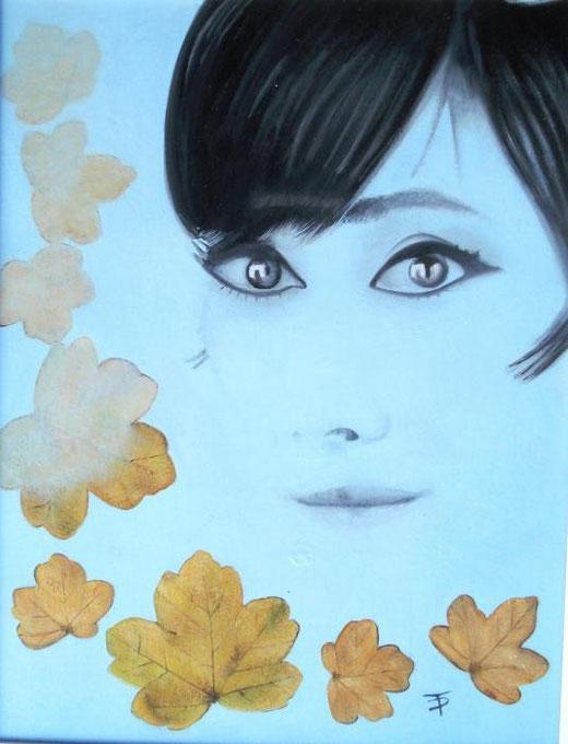 Palombini Teresa  - ... come in Autunno sugli alberi le foglie - olio legno - 30 X 40