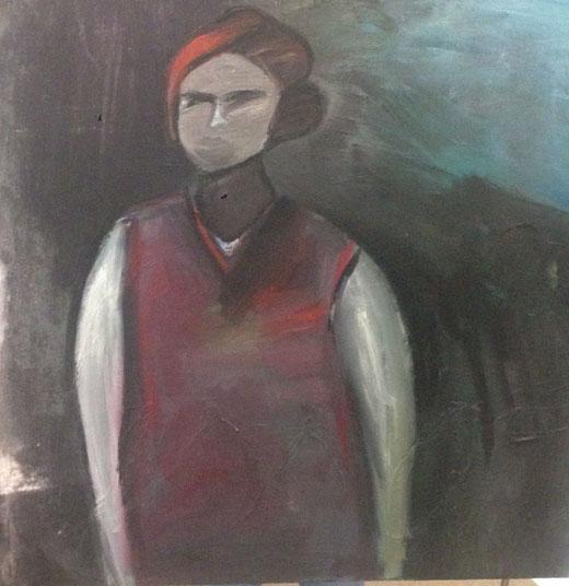 Marco Tessaro - In cammino - olio su tela  - 100 x 100