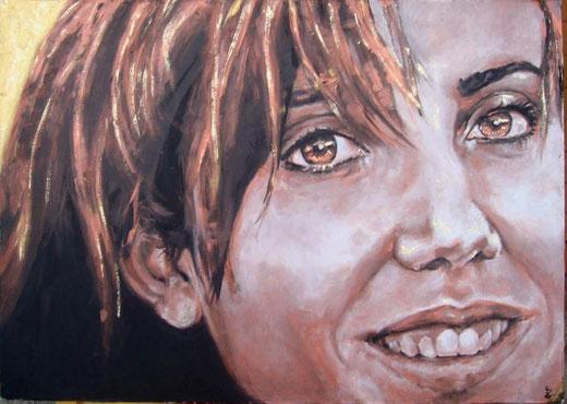 Laura Barzaghi - Il sorriso di Roberta - olio su tela - 70 x 50