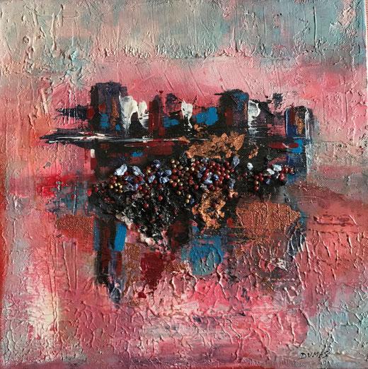 Dumas Burgato Gabriella - Alba in città - tecnica mista su tela - 40 x 40