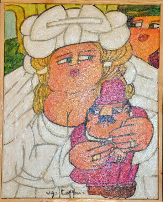Ugo Tapparini - La sposa - olio tela - 50 x 60