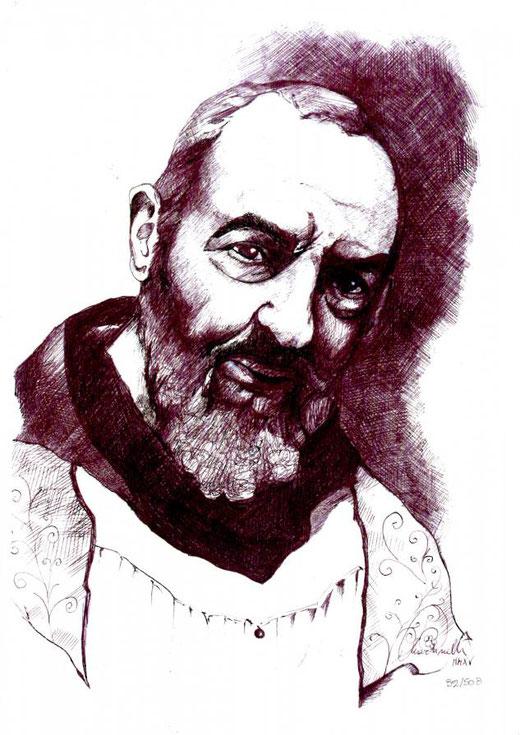 Martinelli Angela  (Italia) – San Pio da Pietrelcina – china su carta – 20 x 30