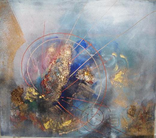 dumas gabriella evoluzione cosmica tecnica mista su tela 80 x 70