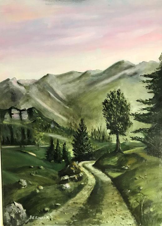 Bernava Angelo - Sopra ai pensieri - olio su tela - 50 x 70