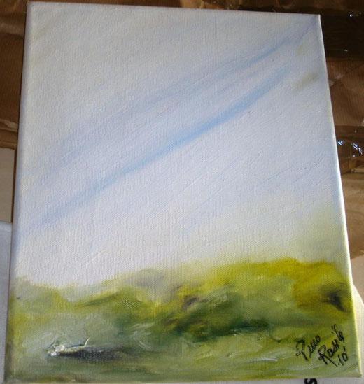 Pino Rasile - Echi e risonanze - olio su tela - 20 x 30