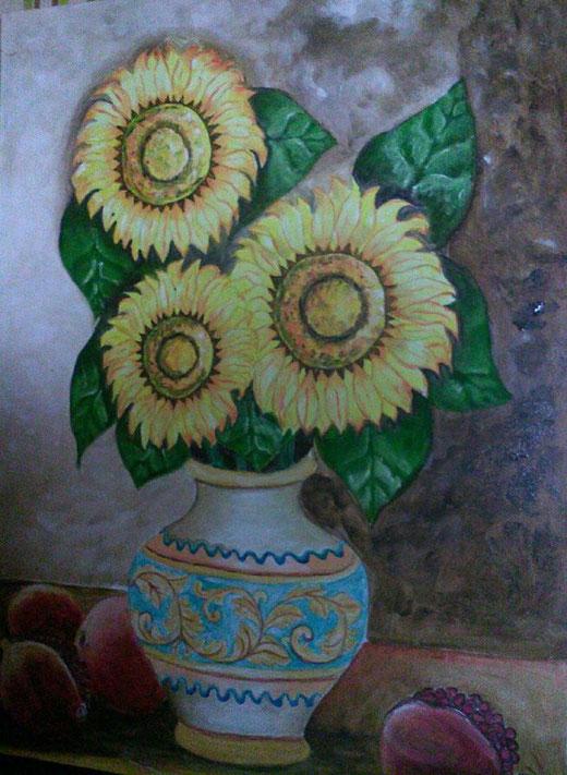 Cirincione Liliana (Italia) - Girasoli - olio su tela 50 x 70