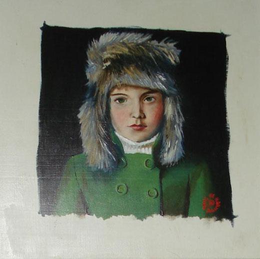 de haan paul - child - olio su tavola legno - 35 x 35