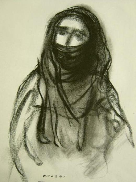 Masri Hayssam - Palestinian woman 1 Grafite, Carta, 30x40cm