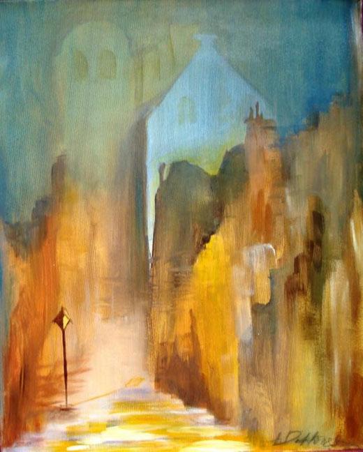 Duhlinska Alexandra  - Oldstreet in Liverpool - olio tela - 40 X 50