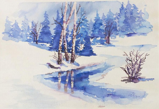 Bonfanti Elvira (Italia) - La magia dell'inverno - acquerello su carta - 50 x 35
