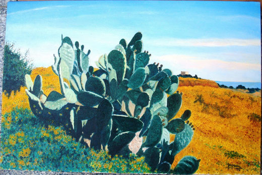 Francesco Alesci - Paesaggio mediterraneo - olio tela - 60 x 40