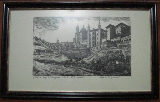 Umberto Franci - Urbino dopo la liberazione 1945 - inchiostro su carta - 32 x 19